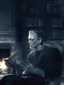 Picture of Frankenstein by the fireplace, reading a winter tale
