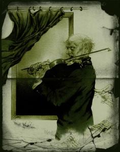 Artist rendition of Erich Zann playing violin